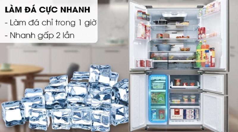 Làm đá nhanh chỉ trong 1 giờ - Tủ lạnh Sharp Inverter 758 lít SJ-F5X76VM-SL