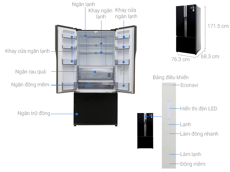 Thông số kỹ thuật Tủ lạnh Panasonic inverter 491 lít NR-CY558GKVN