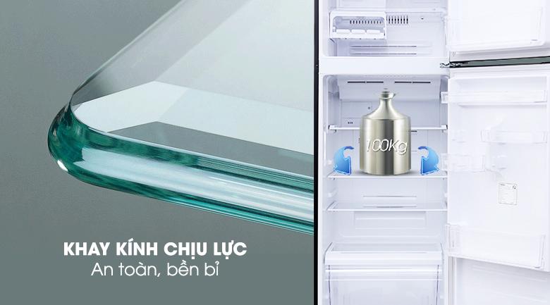 Ngăn kệ làm từ kính chịu lực chứa được nhiều thực phẩm - Tủ lạnh Toshiba Inverter 305 lít GR-MG36VUBZ(XB)