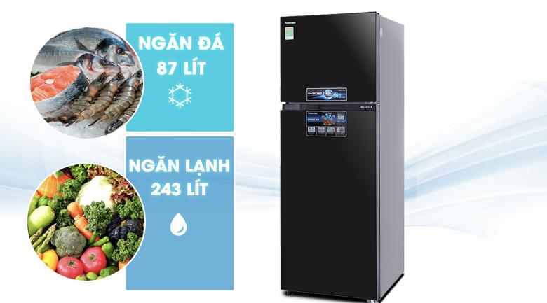 Tủ lạnh Toshiba Inverter 330 lít GR-MG39VUBZ(XK) - Dung tích