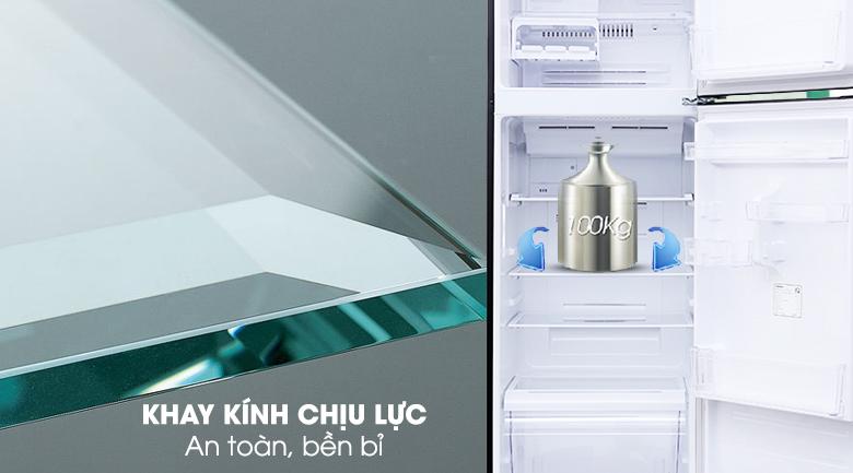 Ngăn kệ làm từ kính chịu lực giúp chứa được nhiều thực phẩm - Tủ lạnh Toshiba Inverter 330 lít GR-MG39VUBZ(XK)