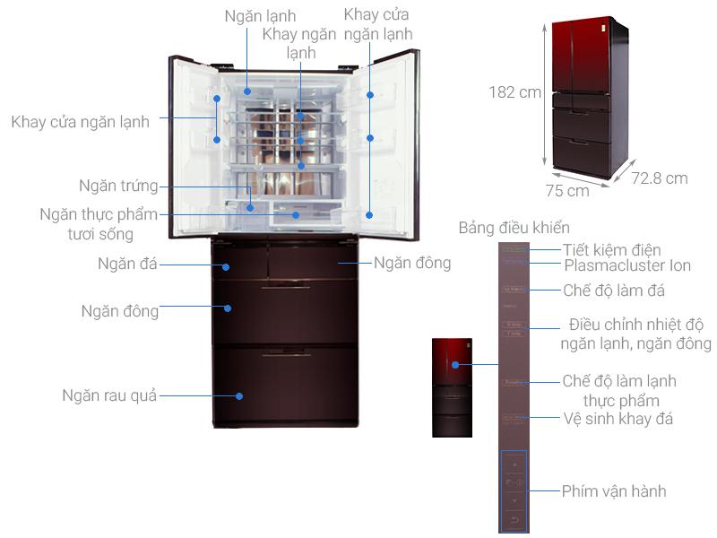 Thông số kỹ thuật Tủ lạnh Sharp Inverter 470 lít SJ-GF60A-R/T