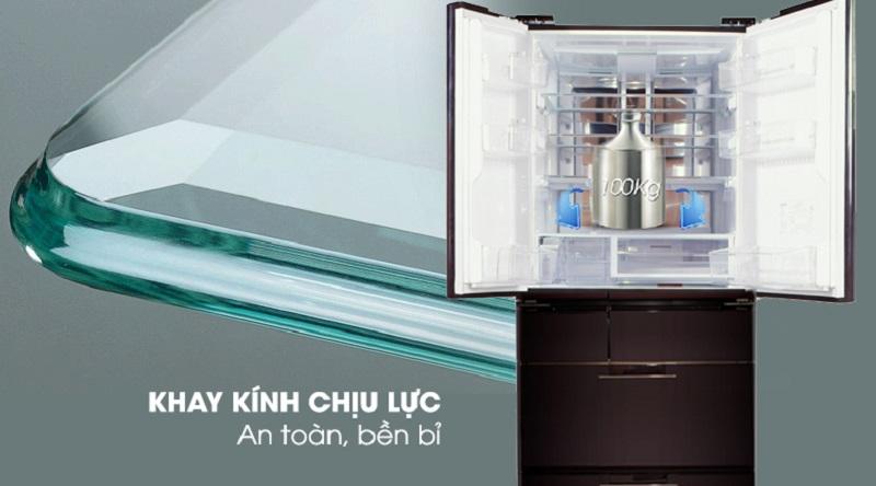 Khay kính chịu lực, an toàn bền bỉ - Tủ lạnh Sharp Inverter 601 lít SJ-GF60A-R/T