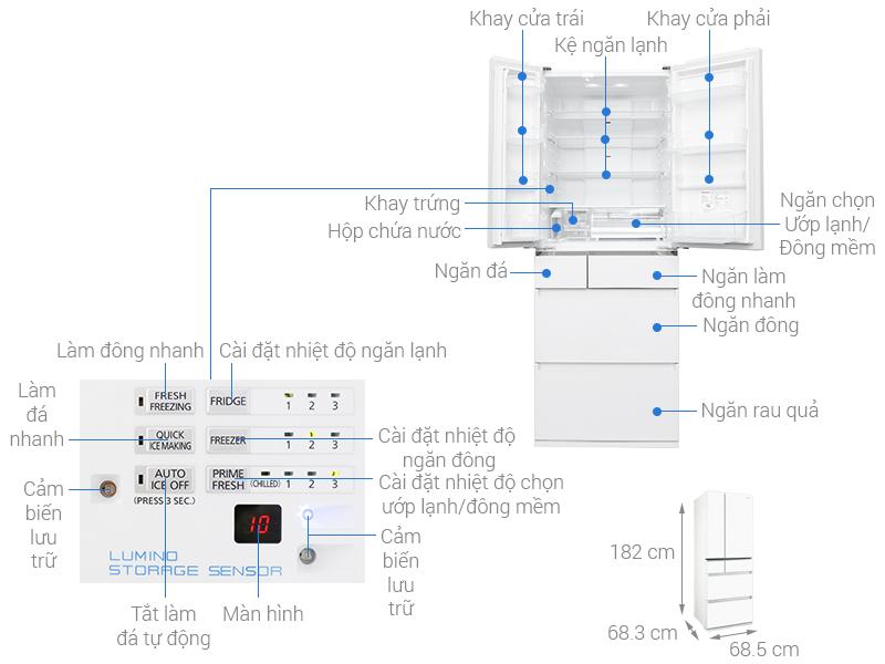 Thông số kỹ thuật Tủ lạnh Panasonic inverter 489 lít NR-F510GT-W2