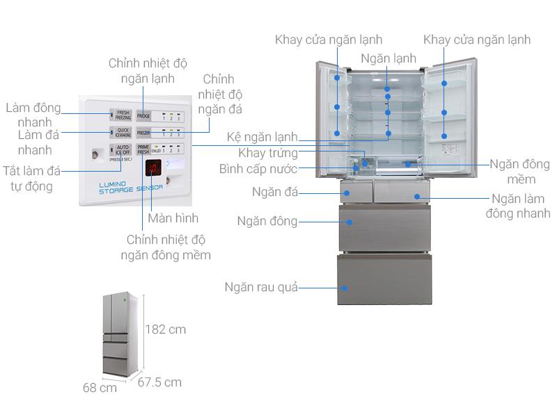Thông số kỹ thuật Tủ lạnh Panasonic Inverter 489 lít NR-F510GT-N2