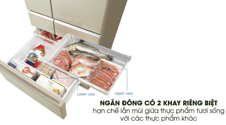 2 khay ngăn đông riêng biệt - Tủ lạnh Panasonic Inverter 489 lít NR-F510GT-N2
