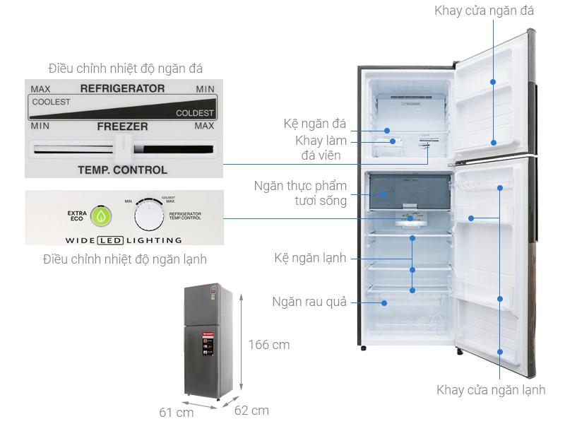 Thông số kỹ thuật Tủ lạnh Sharp Inverter 287 lít SJ-X316E-DS