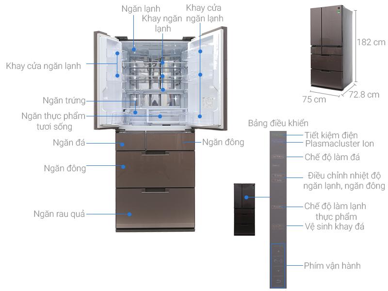 Thông số kỹ thuật Tủ lạnh Sharp Inverter 601 lít SJ-GF60A-T