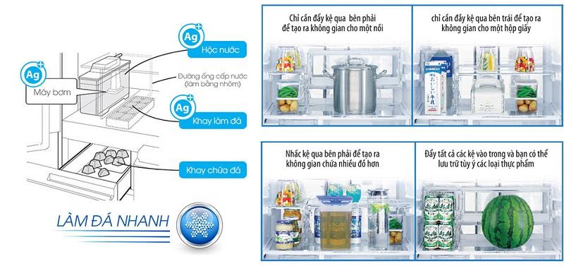 Làm đá tự động, khay kệ thiết kế di động tiện lợi - Tủ lạnh Sharp Inverter 601 lít SJ-GF60A-T