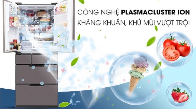 Hệ thống PLASMACLUSTER ION loại bỏ những mùi hôi khó chịu. - Tủ lạnh Sharp Inverter 601 lít SJ-GF60A-T