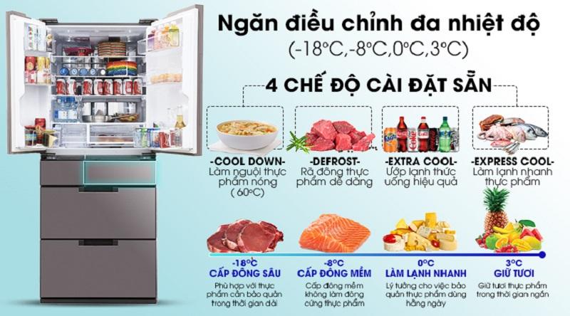 Ngăn điều chỉnh đa nhiệt độ, phù hợp với nhu cầu - Tủ lạnh Sharp Inverter 601 lít SJ-GF60A-T