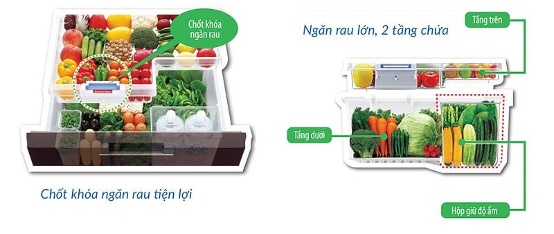 Ngăn rau lớn, 2 tầng chứa - Tủ lạnh Sharp Inverter 601 lít SJ-GF60A-T
