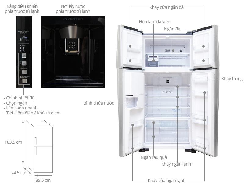 Thông số kỹ thuật Tủ lạnh Hitachi inverter 540 lít R-W660PGV3 GBW