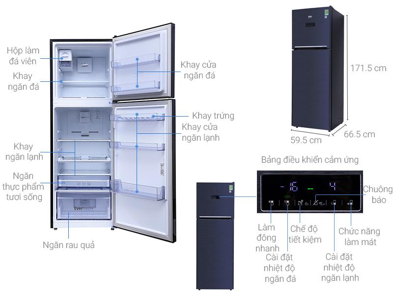 Thông số kỹ thuật Tủ lạnh Beko Inverter 321 lít RDNT360E50VZWB