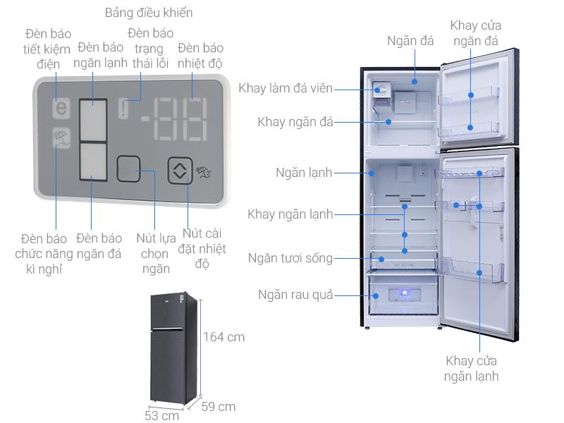 Thông số kỹ thuật Tủ lạnh Beko Inverter 241 lít RDNT270I50VWB