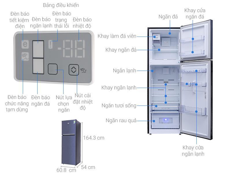 Thông số kỹ thuật Tủ lạnh Beko inverter 270 lít RDNT270I50VWB