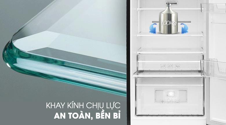 Khay kính chịu lực bền bỉ - Tủ lạnh Beko Inverter 270 lít RDNT270I50VWB