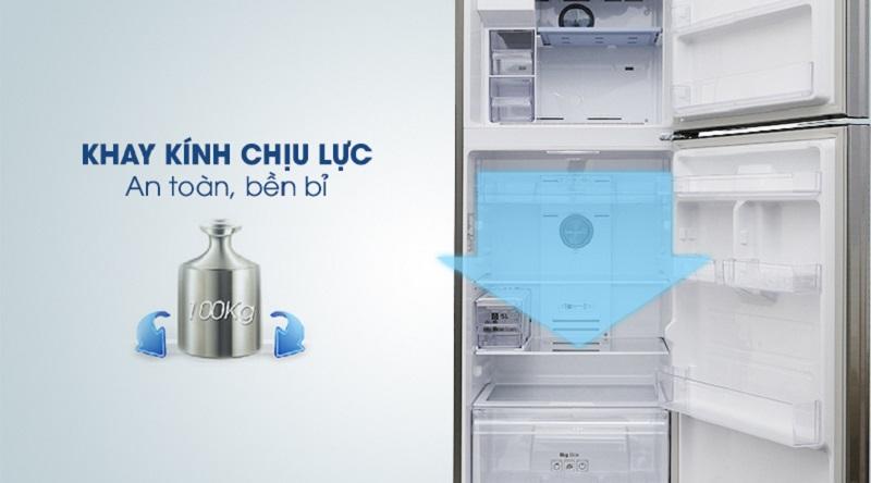 Yên tâm tích trữ thực phẩm với khay kính chịu lực lớn - Tủ lạnh Samsung Inverter 360 lít RT35K5982S8/SV