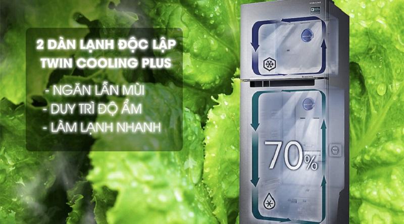Hạn chế lẫn mùi các ngăn với hệ thống 2 dàn lạnh độc lập - Tủ lạnh Samsung Inverter 360 lít RT35K5982S8/SV