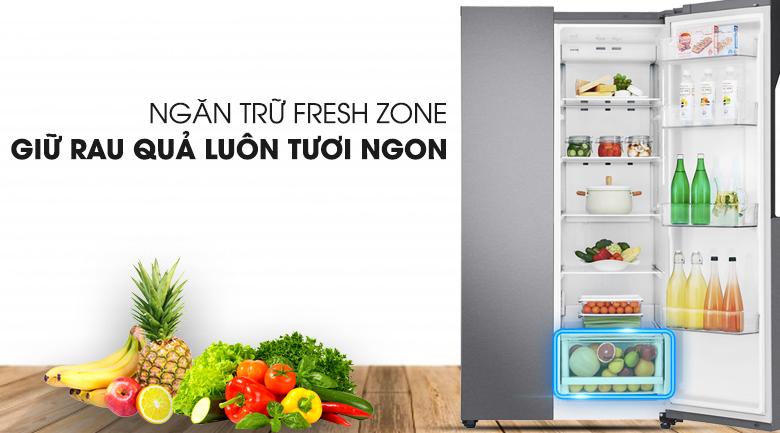 Ngăn rau củ kích thước lớn có khả năng cân bằng độ ẩm - Tủ lạnh LG Inverter 613 lít GR-B247JDS