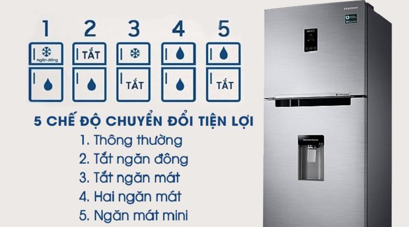 Có 5 chế độ chuyển đổi giữ 2 ngăn cực kỳ tiện lợi - Tủ lạnh Samsung Inverter 319 lít RT32K5932S8/SV