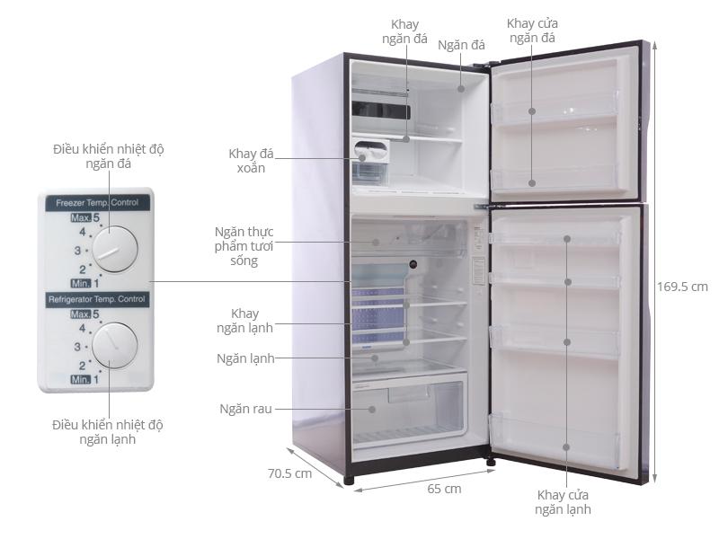 Thông số kỹ thuật Tủ lạnh Hitachi Inverter 365 lít R-VG440PGV3 GBW