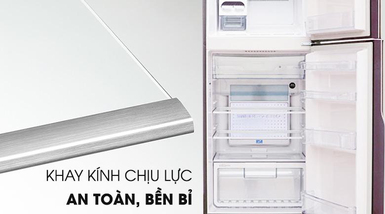 Khay kính an toàn bền bỉ - Tủ lạnh Hitachi Inverter 365 lít R-VG440PGV3 GBW