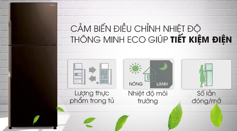Cảm biến Eco tiết kiệm năng lượng tối ưu - Tủ lạnh Hitachi Inverter 365 lít R-VG440PGV3 GBW