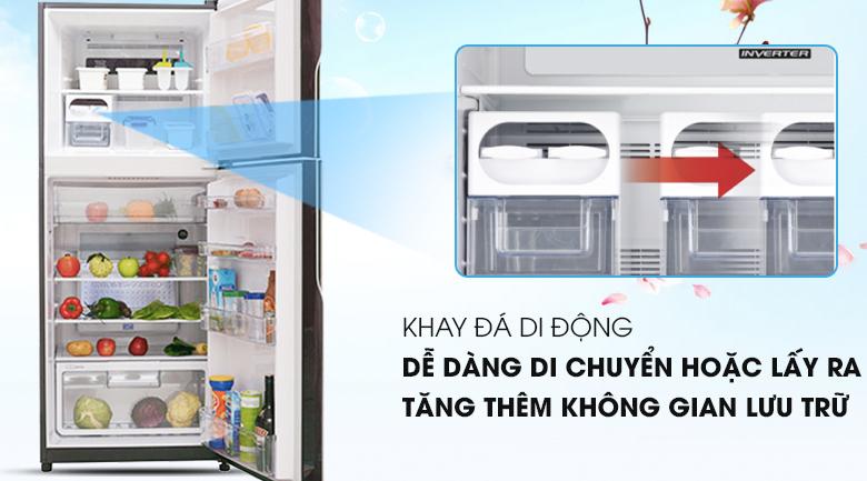 Khay đá linh hoạt tiện lợi - Tủ lạnh Hitachi Inverter 365 lít R-VG440PGV3 GBW