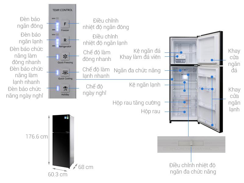 Thông số kỹ thuật Tủ lạnh Aqua Inverter 373 lít AQR-IG377DN GB