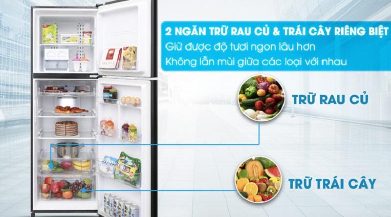 Ngăn rau củ tiện lợi, hiện đại - Tủ lạnh Aqua Inverter 373 lít AQR-IG377DN GB