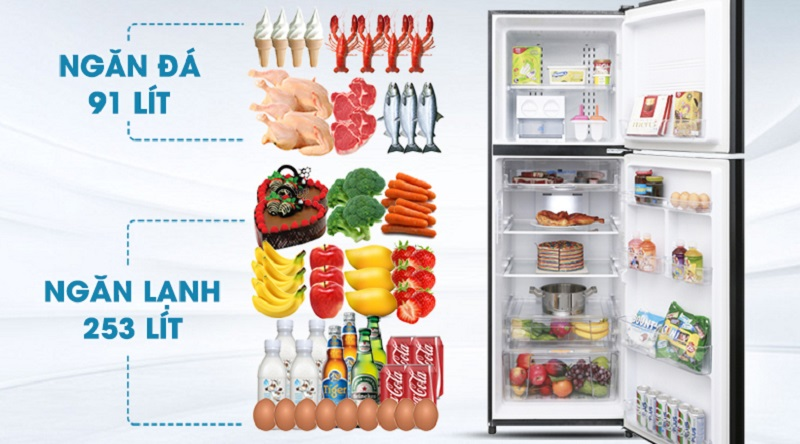 Tổng dung tích lên đến 373 lít - Tủ lạnh Aqua Inverter 373 lít AQR-IG377DN GB