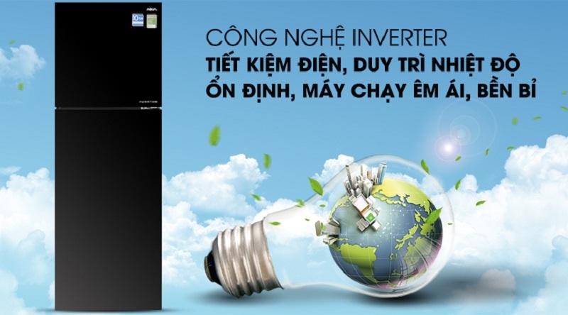 Máy nén Inverter vận hành êm ái, tiết kiệm điện - Tủ lạnh Aqua Inverter 373 lít AQR-IG377DN GB