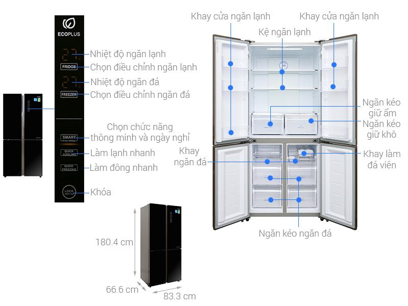 Thông số kỹ thuật Tủ lạnh Aqua Inverter 456 lít AQR-IG525AM GB