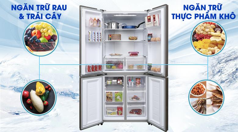 Ngăn trữ rau củ, quả và thực phẩm khô riêng biệt - Tủ lạnh Aqua Inverter 516 lít AQR-IG525AM GB