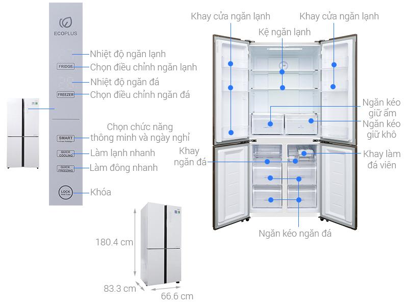 Thông số kỹ thuật Tủ lạnh Aqua Inverter 516 lít AQR-IG525AM GW