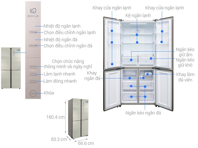 Thông số kỹ thuật Tủ lạnh Aqua Inverter 516 lít AQR-IG525AM SG