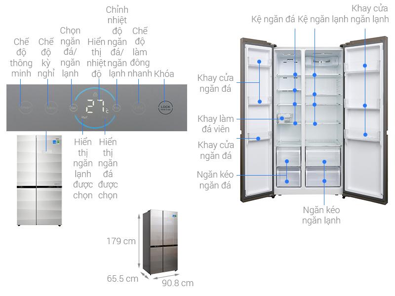 Thông số kỹ thuật Tủ lạnh Aqua Inverter 565 lít AQR-IG585AS GS