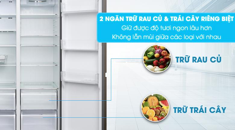 2 ngăn rau & quả riêng biệt - Tủ lạnh Aqua Inverter 565 lít AQR-IG585AS GS
