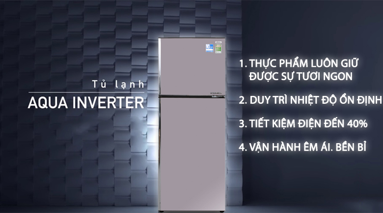 Inverter - Tủ lạnh Aqua Inverter 281 lít AQR-I287BN PS
