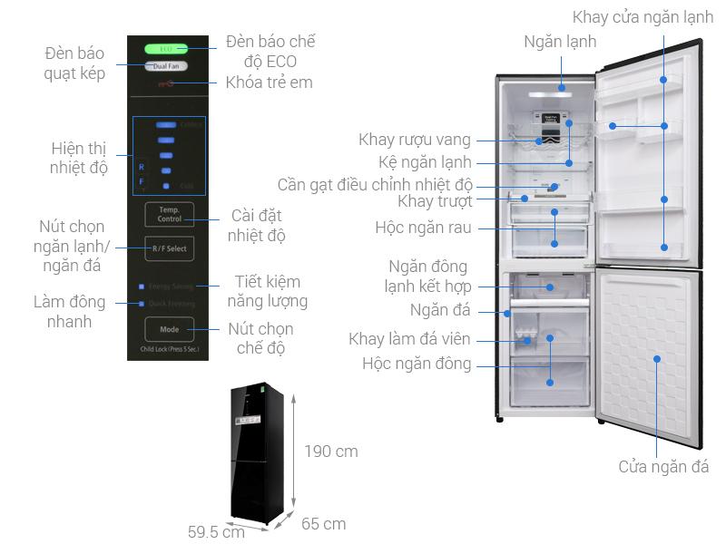 Thông số kỹ thuật Tủ lạnh Hitachi Inverter 320 lít BG410PGV6X (GBK)