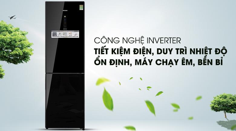 Công nghệ Inverter vận hành êm ái, ổn định - Tủ lạnh Hitachi Inverter 330 lít BG410PGV6X (GBK)
