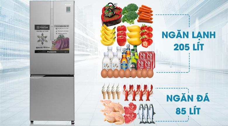 Dung tích - Tủ lạnh Panasonic Inverter 290 lít NR-BV329XSVN