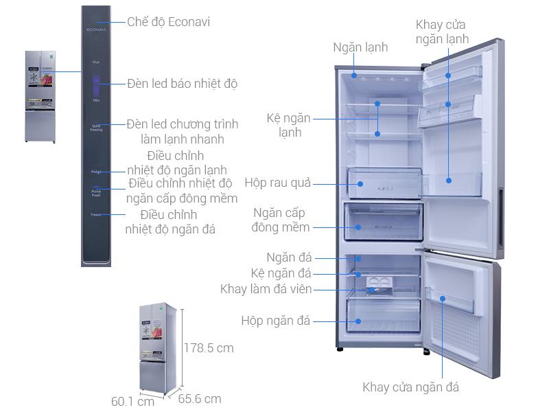 Thông số kỹ thuật Tủ lạnh Panasonic 322 lít NR-BC369XSVN