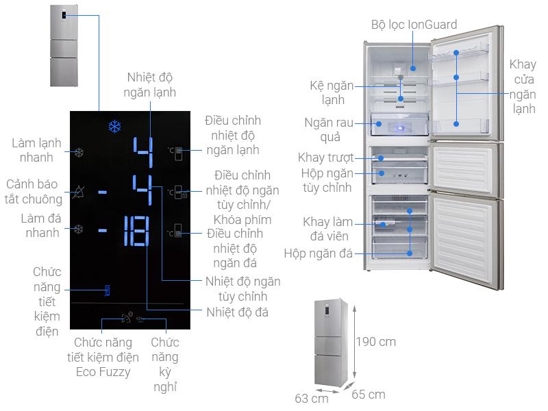 Thông số kỹ thuật Tủ lạnh Beko Inverter 340 lít RTNT340E50VZX