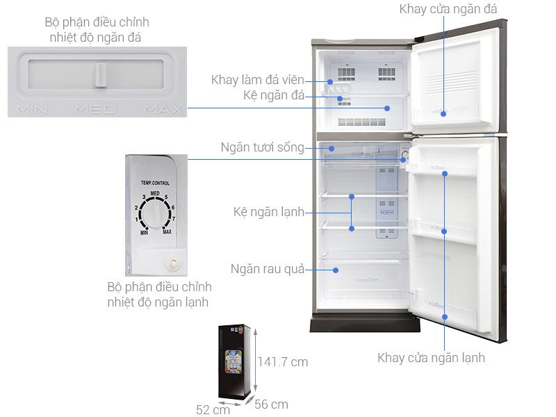 Thông số kỹ thuật Tủ lạnh Aqua Inverter 186 lít AQR-I209DN DC