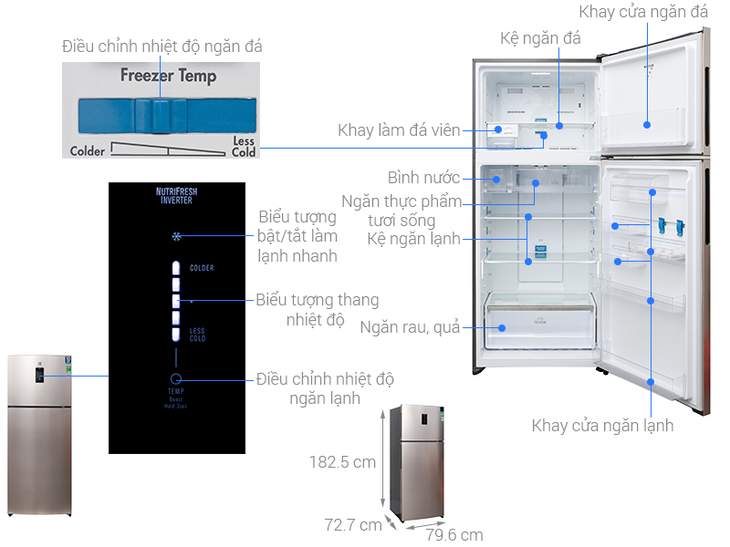 Thông số kỹ thuật Tủ lạnh Electrolux Inverter 531 lít ETB5702GA