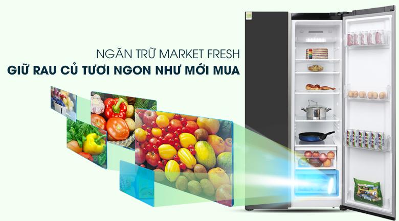 Ngăn trữ rau củ Market Fresh - Tủ lạnh Electrolux Inverter 636 lít ESE6201BG-VN