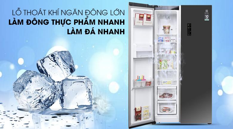 Làm đông thực phẩm và làm đá nhanh chóng- Tủ lạnh Electrolux Inverter 636 lít ESE6201BG-VN