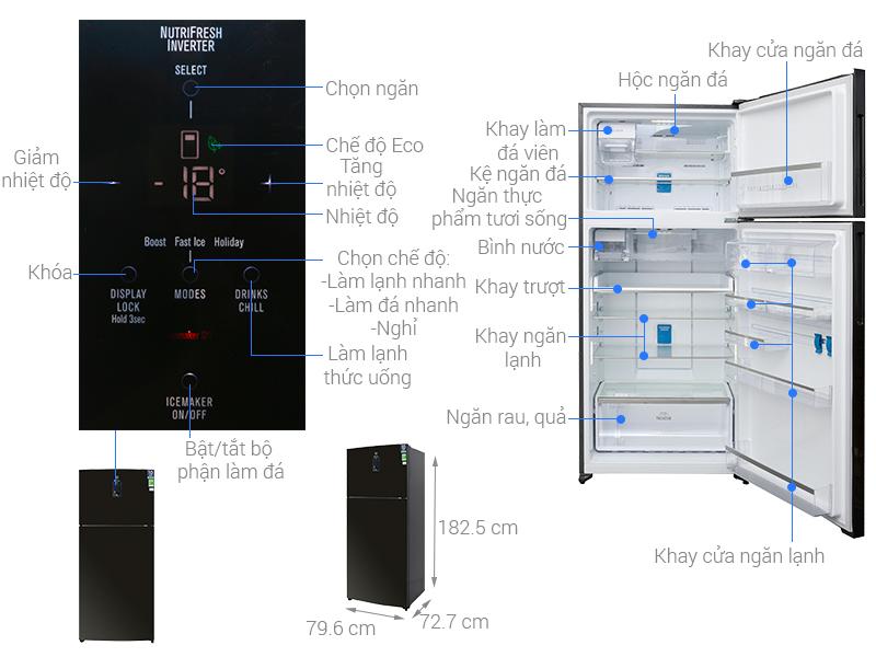 Thông số kỹ thuật Tủ lạnh Electrolux Inverter 531 lít ETE5722BA